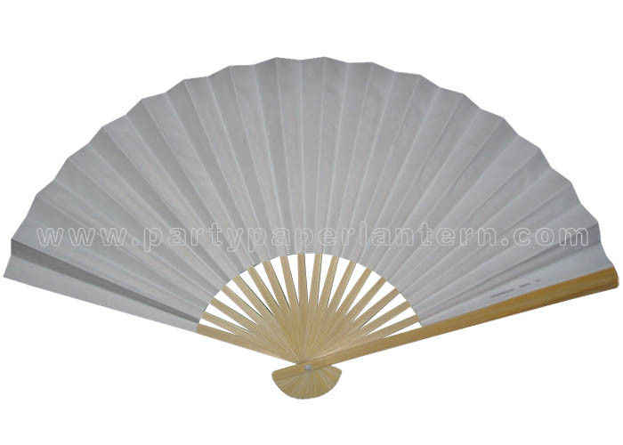 White Paper Hand Fans Bamboo Fans Wedding Favors With Rice Paper